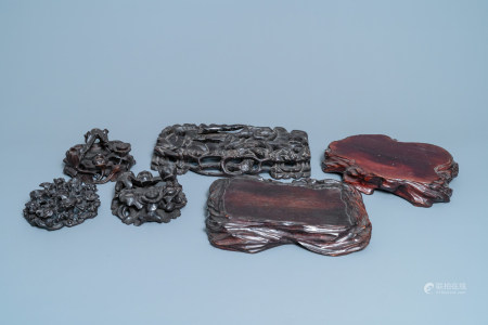 Six Chinese naturalistically carved wooden stands, 19/20th C.