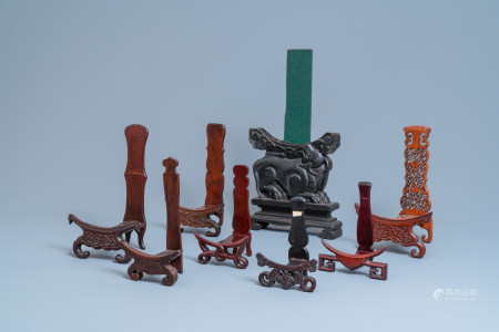 Eight Chinese carved wooden stands for dishes, 19/20th C.
