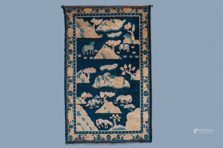 A large Chinese rectangular 'Eight horses of Mu Wang' carpet, 19th C.
