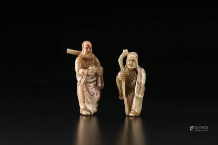 寿山石雕老人像2座