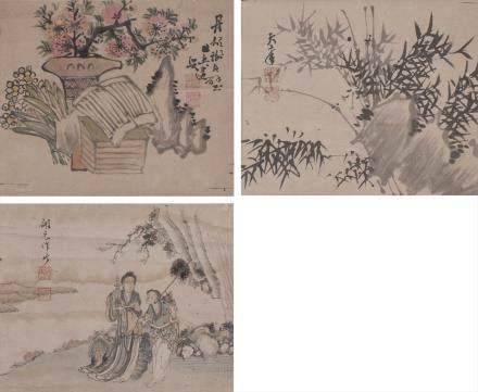 古画3张 立轴 (谢良璧、吴天章、郑开元)