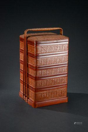 大漆竹編五層提梁食盒