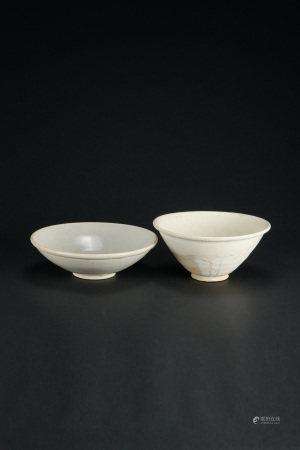 宋代 磁州窯碗 影青碗 二件