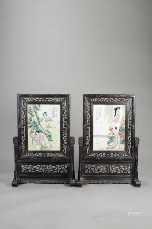 王琦 粉彩仕女紋瓷板插屏 一對