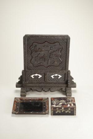 大漆嵌螺鈿人物紋蓋盒 托盤 大漆雙鳳人物紋硯屏 三件