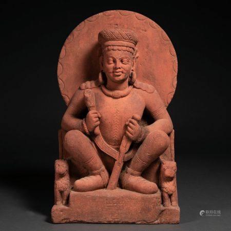 """""""Bouddha intronisé"""" Figure ronde en grès. Travail indien XIXème siècleBon état.76 x 20 x 45 cms"""