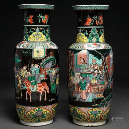 Paire de vases chinois en porcelaine de la famille verte. Travail chinois, XIXème siècleDécoré