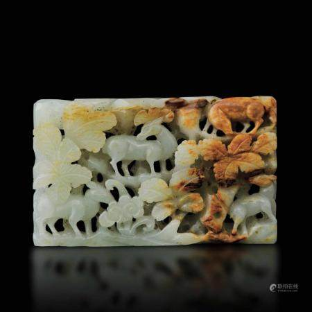 A carved jade plaque, China, Qing Dynasty