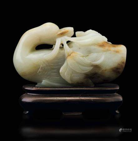 A white jade duck, China, Qing Dynasty