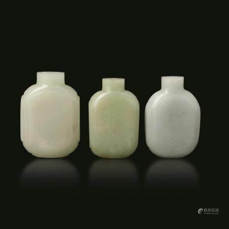 Three white jade snuff bottles, China, 1800s