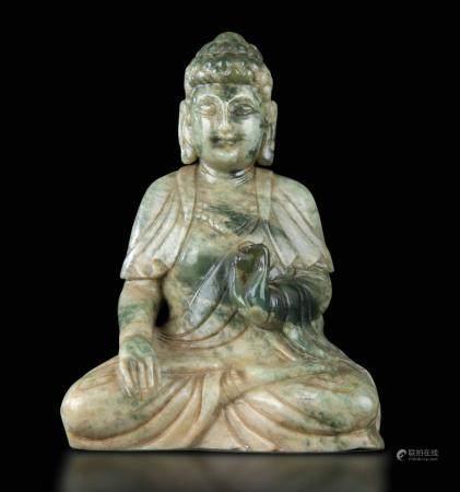 A jadeite Buddha Sakyamuni, China, 1950ca