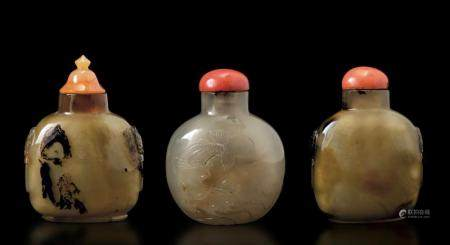 Three agate snuff bottles, China, 1800s