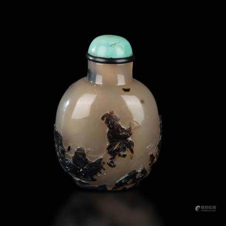 An agate snuff bottle, China, Qing Dynasty, 1800s