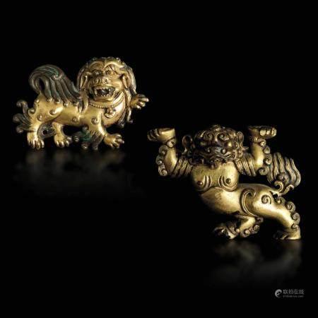 Two bronze lion plaques, Tibet, 1200s