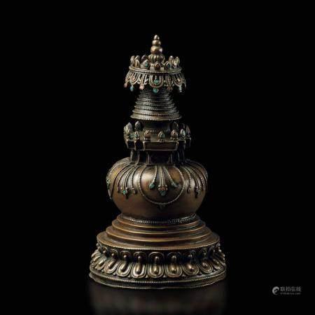 A bronze stupa, Tibet, 1700s
