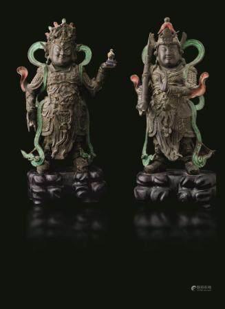 Two bronze Guandi, China, Ming Dynasty