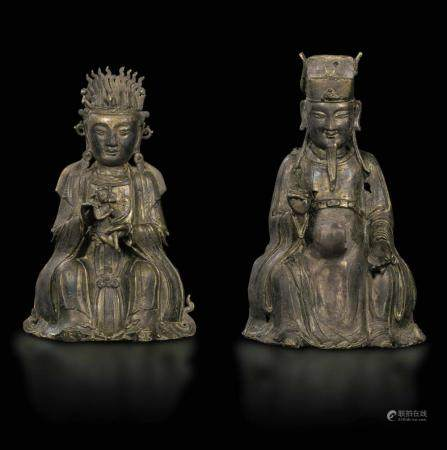 Two large bronze figures, China, Ming Dynasty