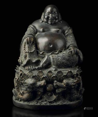 A large bronze Budai, China, Qing Dynasty