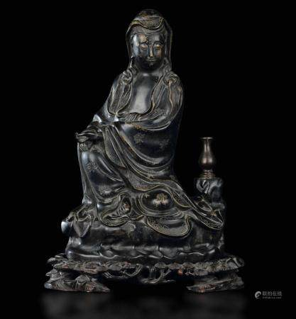 A bronze Guanyin, China, Qing Dynasty