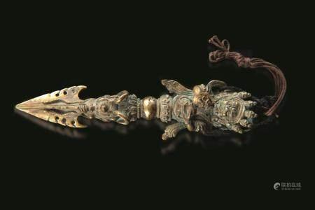 A bronze Phurba dagger, Tibet, 1700s