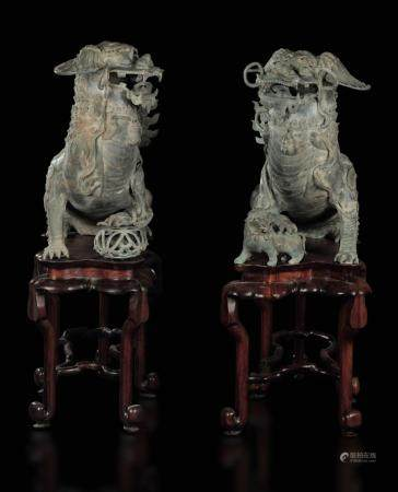 Two bronze Pho dogs, China, Ming Dynasty
