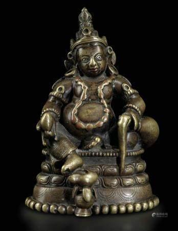 Figura di Sita-Jambhala seduto su fiore di loto in bronzo, Tibet/Kashmir, XII-XIII secolo,