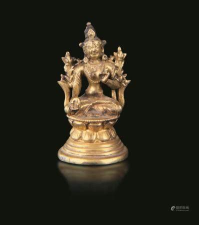 A gilt bronze Amitaya, Tibet, 1700s