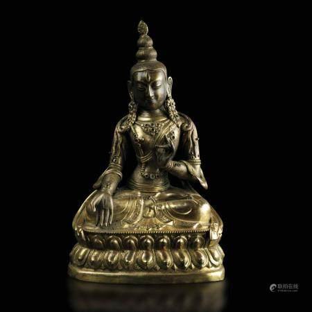 A gilt metal Buddha Amitayus, China, 1700s