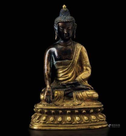 A bronze Buddha Sakyamuni, China, Qing Dynasty