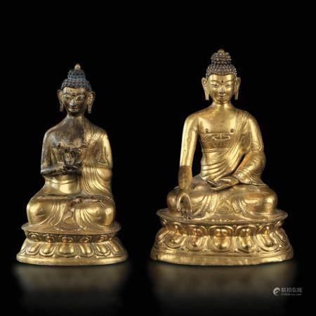 Two gilt repoussé Buddhas, Tibet, 1700s