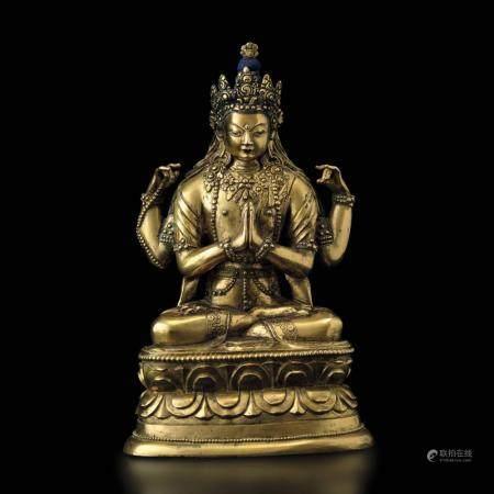 A gilt bronze Buddha, Mongolia, late 1700s
