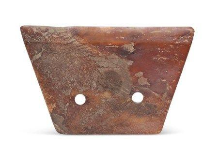 新石器时代末 约西元前2000-1700年 红棕石斧 (残) LATE NEOLITHIC PERIOD, CIRCA 2000-1700 BC