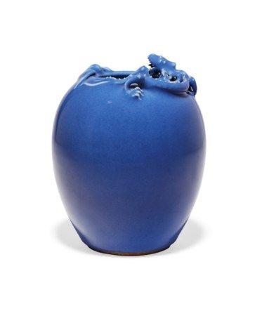 清十九世纪 蓝釉螭龙小瓶 19TH CENTURY