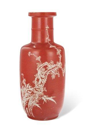 清十九世纪 珊瑚红地梅纹棒槌瓶 19TH CENTURY