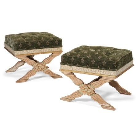 A PAIR OF ITALIAN GREEN-PAINTED AND PARCEL-GILT STOOLS 19TH CENTURY