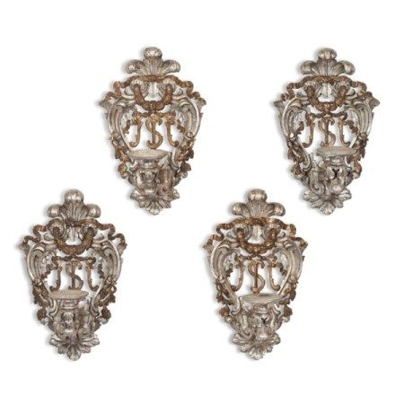 A SET OF FOUR ITALIAN SILVERED AND 'MECCA' (GILT-VARNISHED SILVERED) SINGLE-BRANCH WALL-LIGHTS 19TH CENTURY
