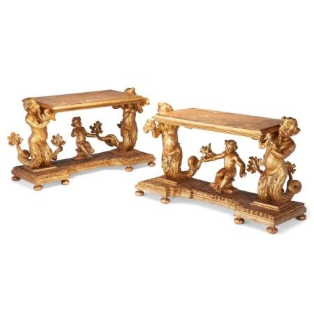 A PAIR OF NORTH ITALIAN GILTWOOD CONSOLE TABLES MID-18TH CENTURY AND LATER