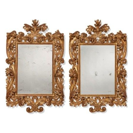 A PAIR OF NORTH ITALIAN GILTWOOD MIRRORS ONE 19TH CENTURY, ONE 20TH CENTURY