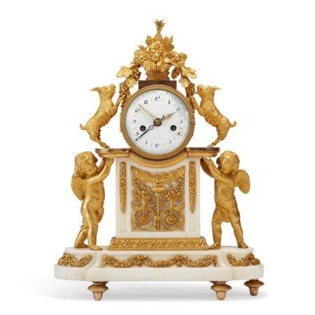 A LOUIS XVI ORMOLU AND WHITE MARBLE MANTEL CLOCK CIRCA 1785