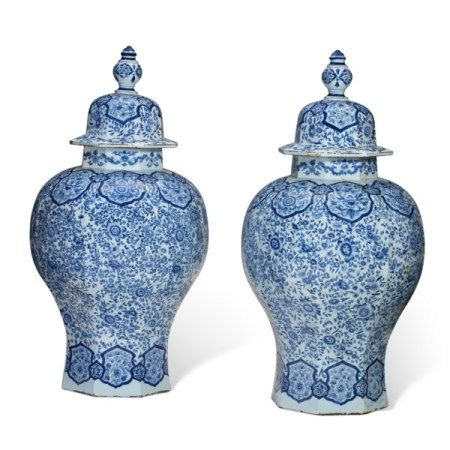 A MASSIVE PAIR OF FRENCH FAIENCE BLUE AND WHITE OCTAGONAL BALUSTER VASES AND COVERS 18TH CENTURY, BLUE PAINTED 'HL' MARKS
