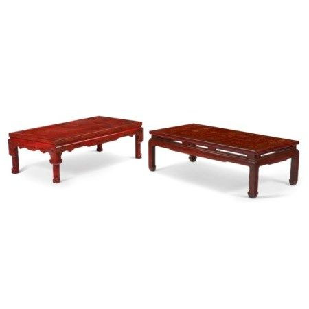 TWO CHINESE-STYLE SCARLET LACQUERED LOW TABLES 20TH CENTURY
