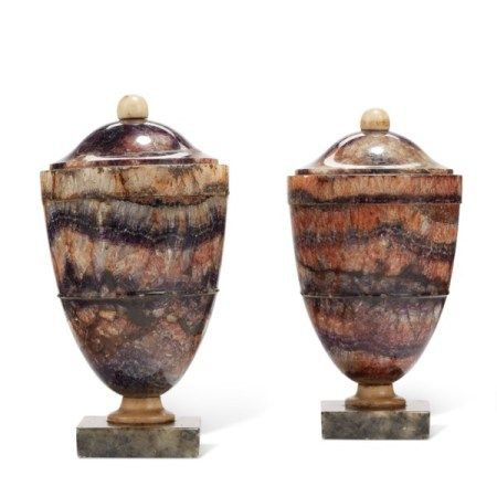 A PAIR OF GEORGE III BLUE JOHN URNS LATE 18TH CENTURY, WITH ASSOCIATED BASES AND COVERS