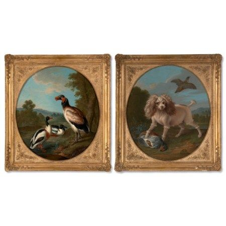 CIRCLE OF ALEXANDRE-FRANCOIS DESPORTES (1661-1743) Two scenes: a spaniel guarding a pheasant and a vulture with two mallards