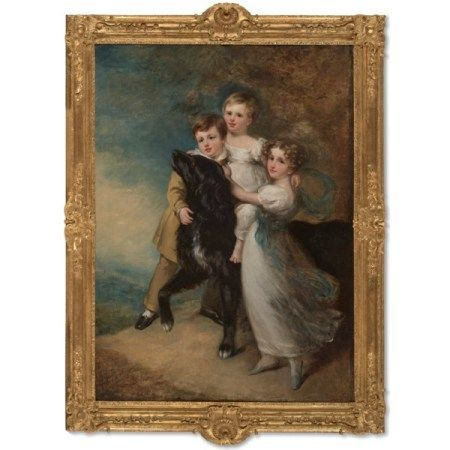 CIRCLE OF SIR WILLIAM BEECHEY (1753-1839) Portrait of three children with the family dog