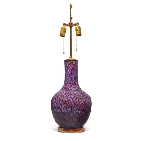 A CHINESE FLAMBE-GLAZED BOTTLE VASE, MOUNTED AS A LAMP QING DYNASTY, 19TH CENTURY