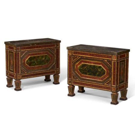 A PAIR OF ITALIAN PARCEL-GILT AND POLYCHROME-MARBELIZED COMMODES 20TH CENTURY, POSSIBLY INCORPORATING EARLIER CARVING