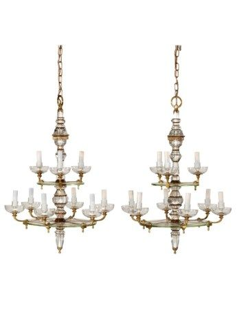A PAIR OF FRENCH CUT GLASS, GILT AND LACQUERED BRONZE NINE-LIGHT CHANDELIERS 20TH CENTURY