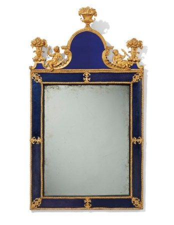 A SWEDISH GILT-LEAD AND COBALT GLASS MIRROR ATTRIBUTED TO BURCHARD PRECHT, EARLY 18TH CENTURY