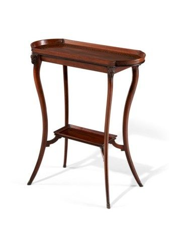 A CONSULAT PEWTER AND EBONY-INLAID MAHOGANY 'VIDE POCHE' TABLE ATTRIBUTED TO MARTIN-GUILLAME BIENNAIS, CIRCA 1800