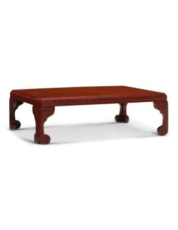 A CHINESE RED LACQUER LOW TABLE 20TH CENTURY